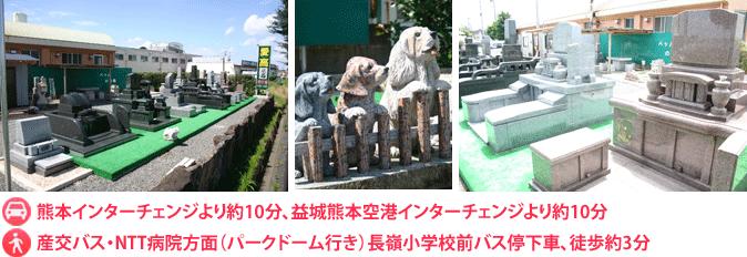 車の場合:熊本インターチェンジより約10分、益城熊本空港インターチェンジより約10分。バスの場合:産交バス・NTT病院方面(パークドーム行き)長嶺小学校前バス停下車、徒歩約3分